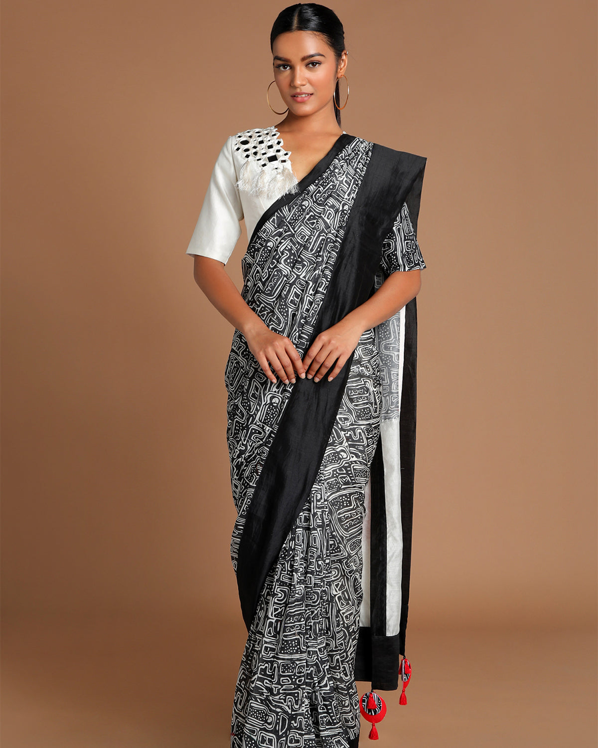 Black and White Maze Sari