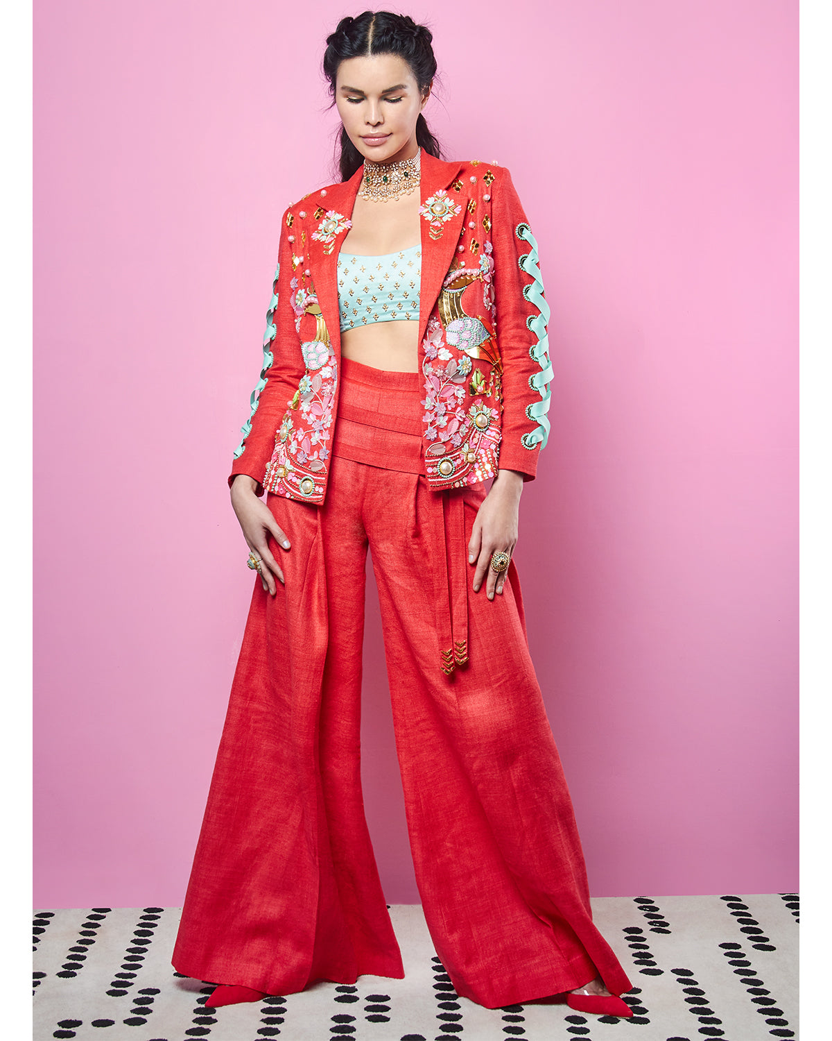 Red and Mint Pant Suit | Papa Don't Preach
