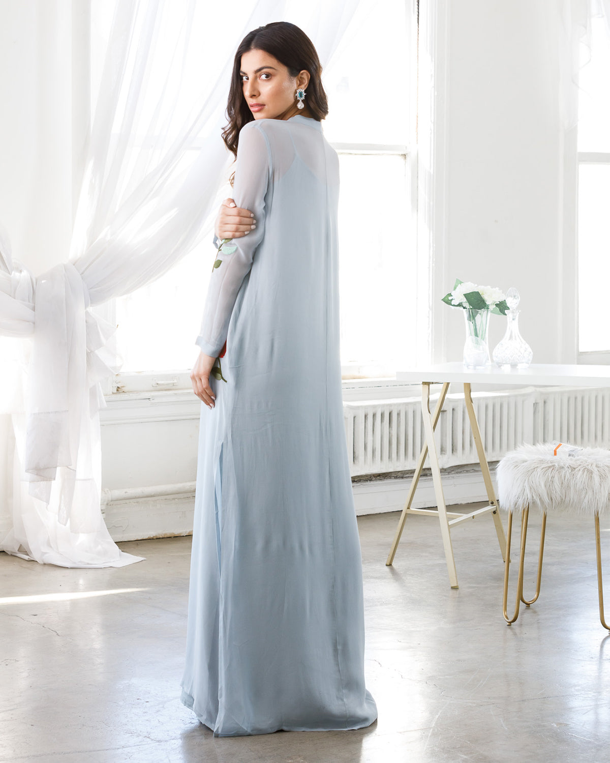 Floor length blue kaftan