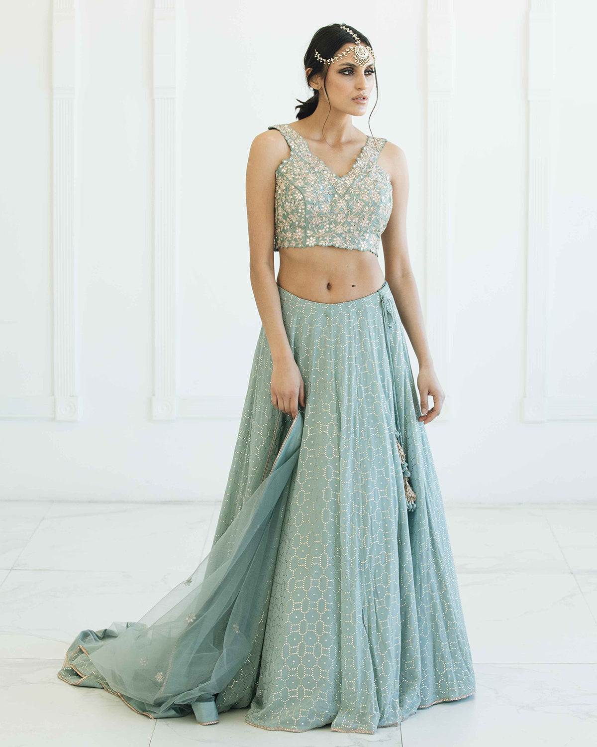 Ice Blue and Gold Lehenga