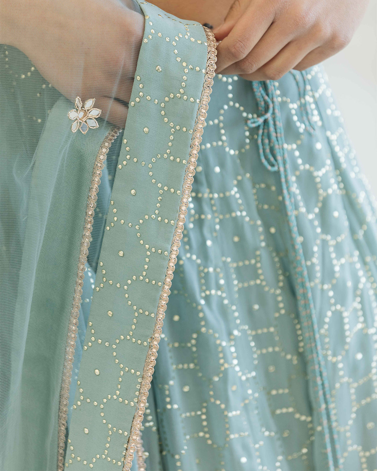 Blue and Gold embroidered Lehenga