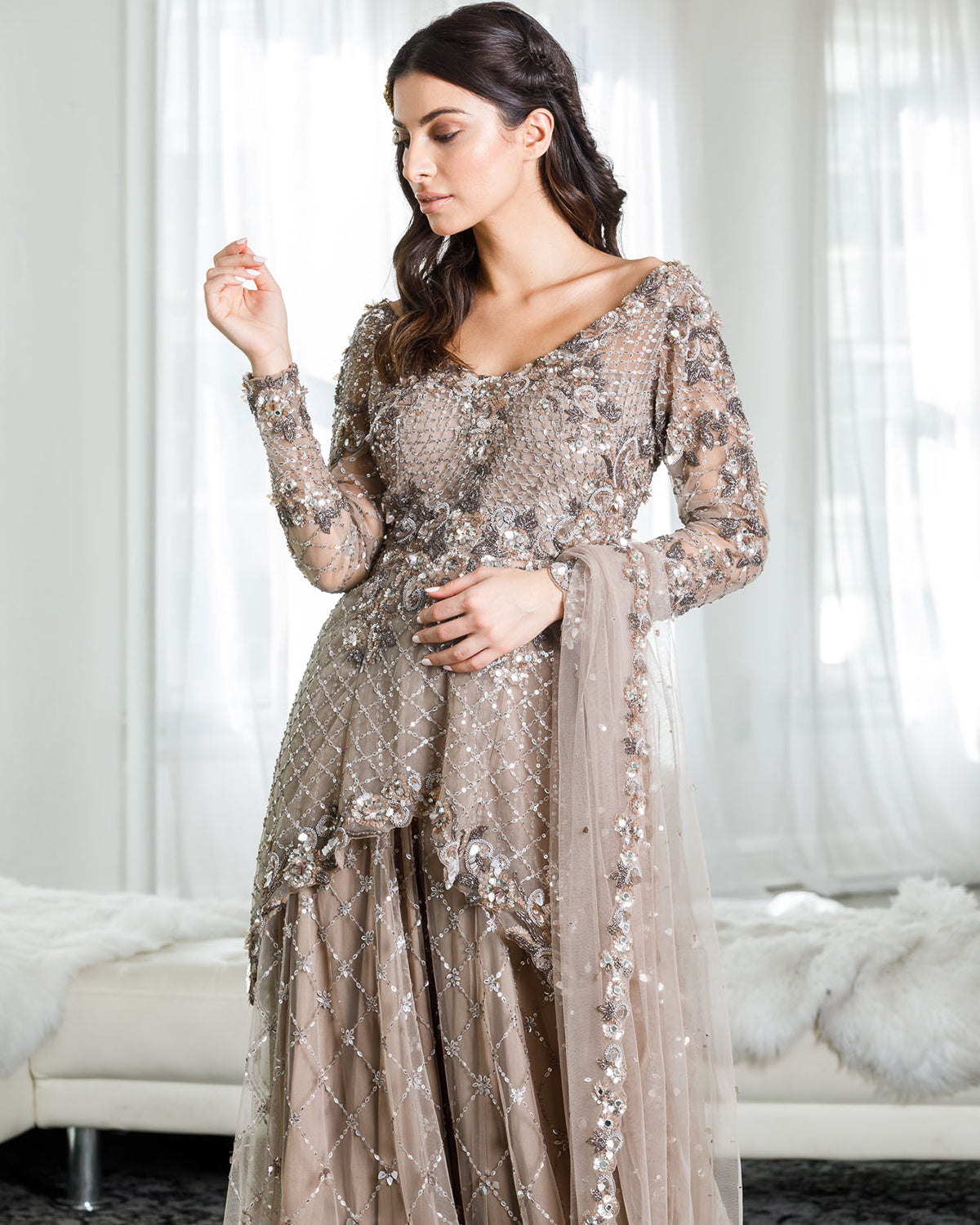 coffee shimmery sharara outfit