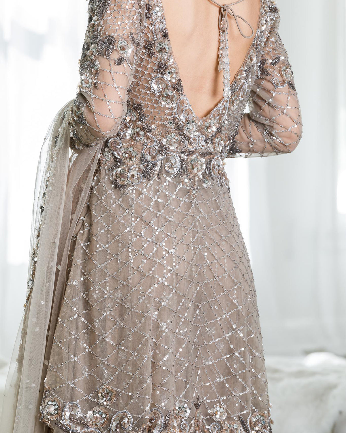 coffee shimmery bridal wear