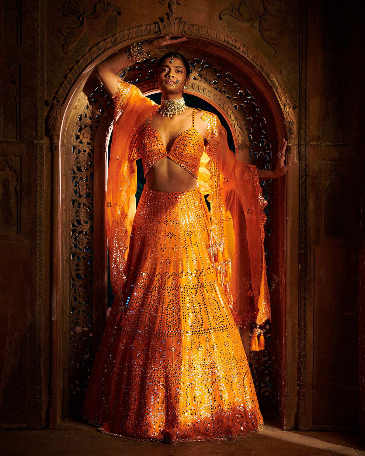 bright orange lehenga