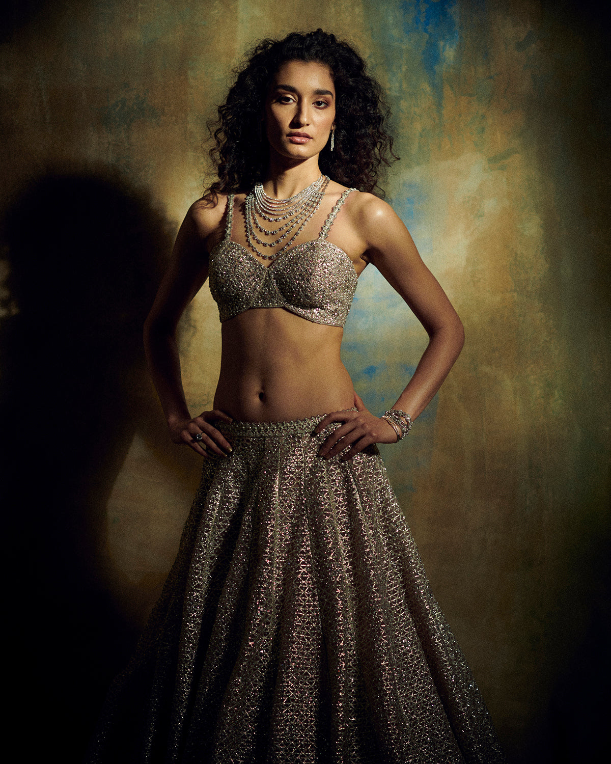Champagne Pink and Metallic Bridal Lehenga