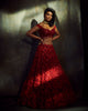 Red floral bridal lehenga