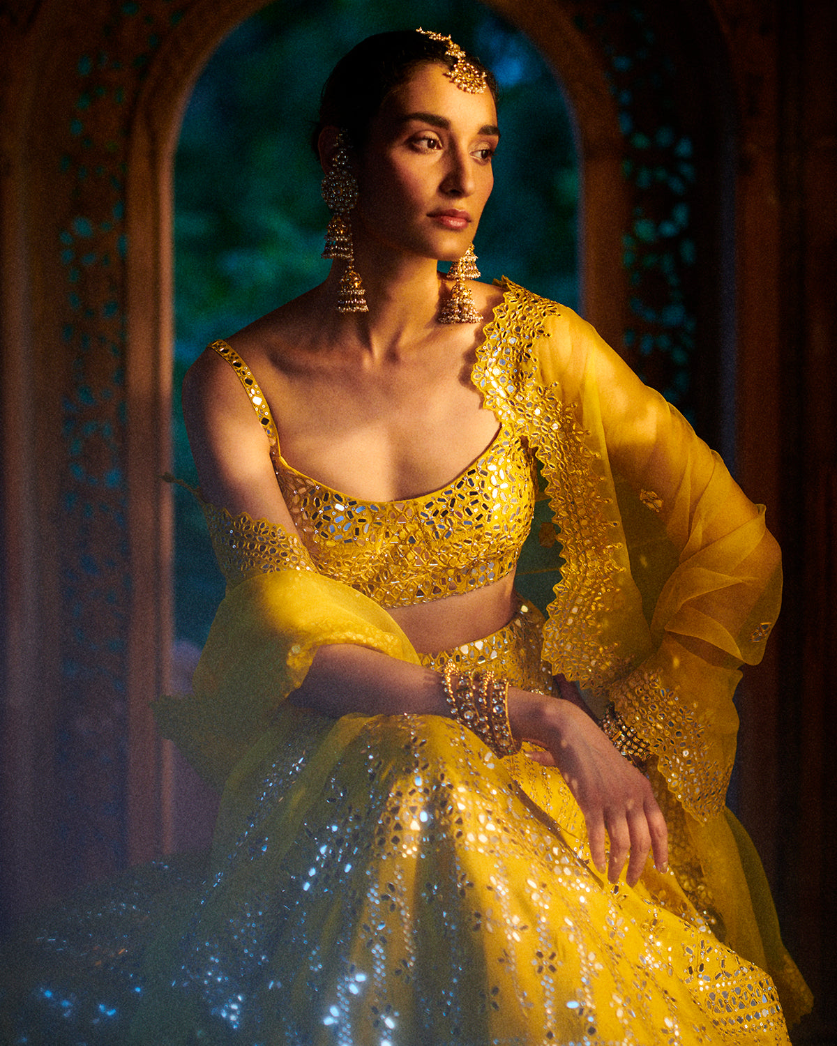 Mirror Yellow Lehenga