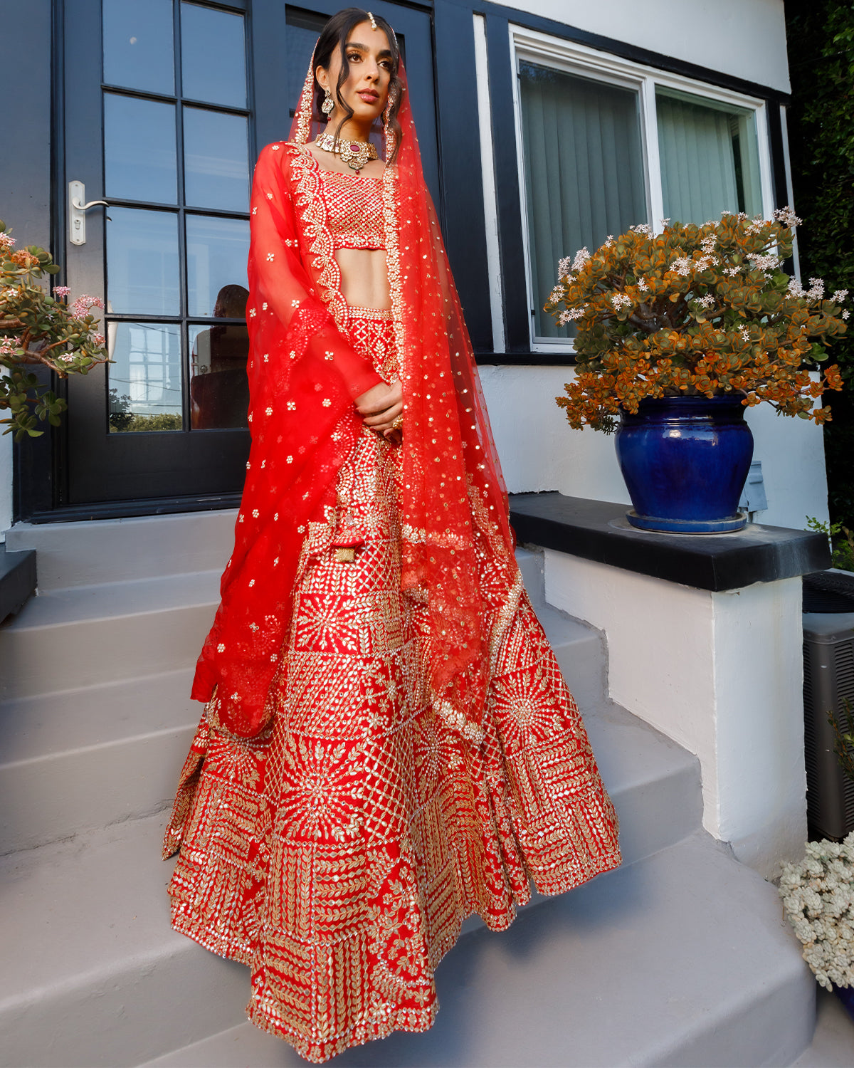 crimson wedding lehenga