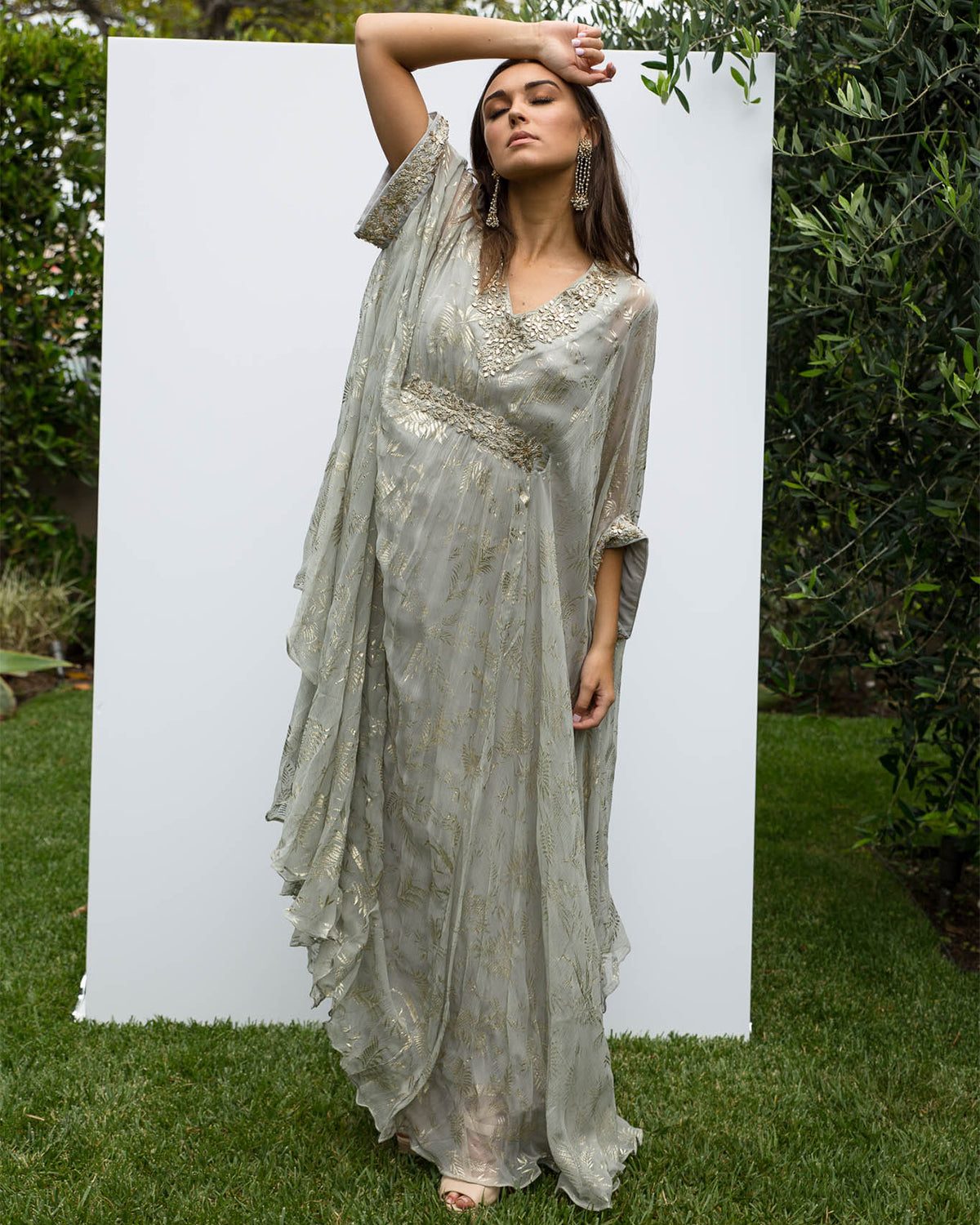 Dust Gray and Gold Kaftan