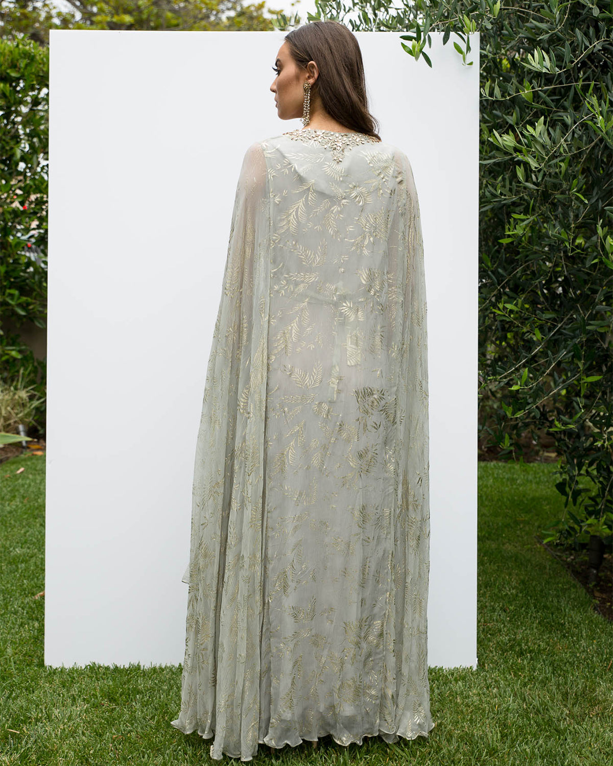 Dusty Gray Kaftan with gold foil leaves