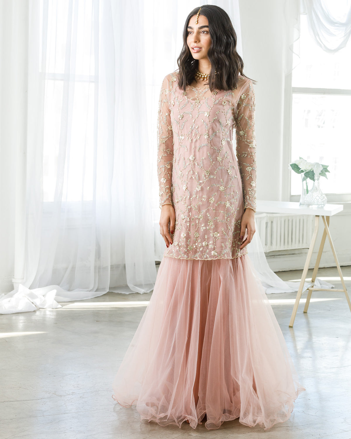 Pink tulle gown with sheer tunic