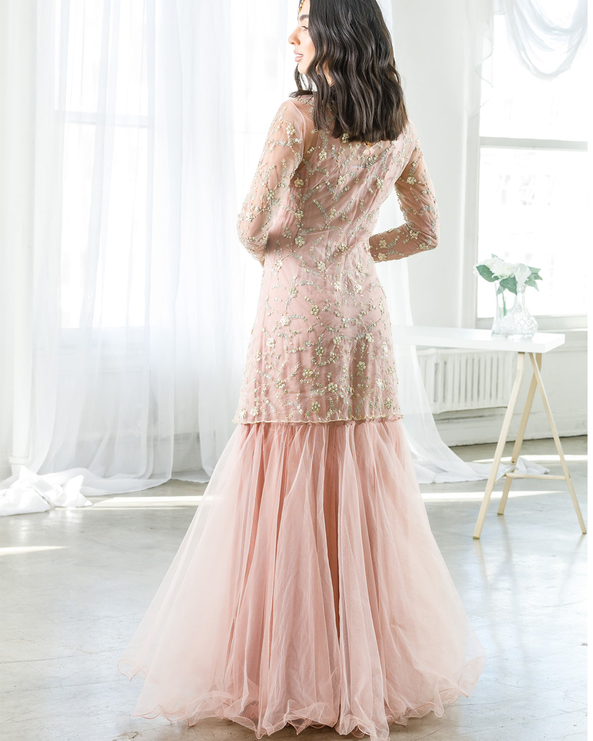 Dusty Pink Tulle Gown