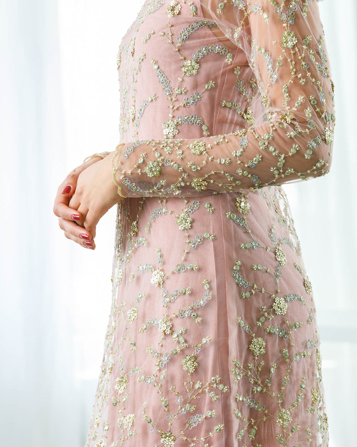 Embellished net tunic with gold embroidery