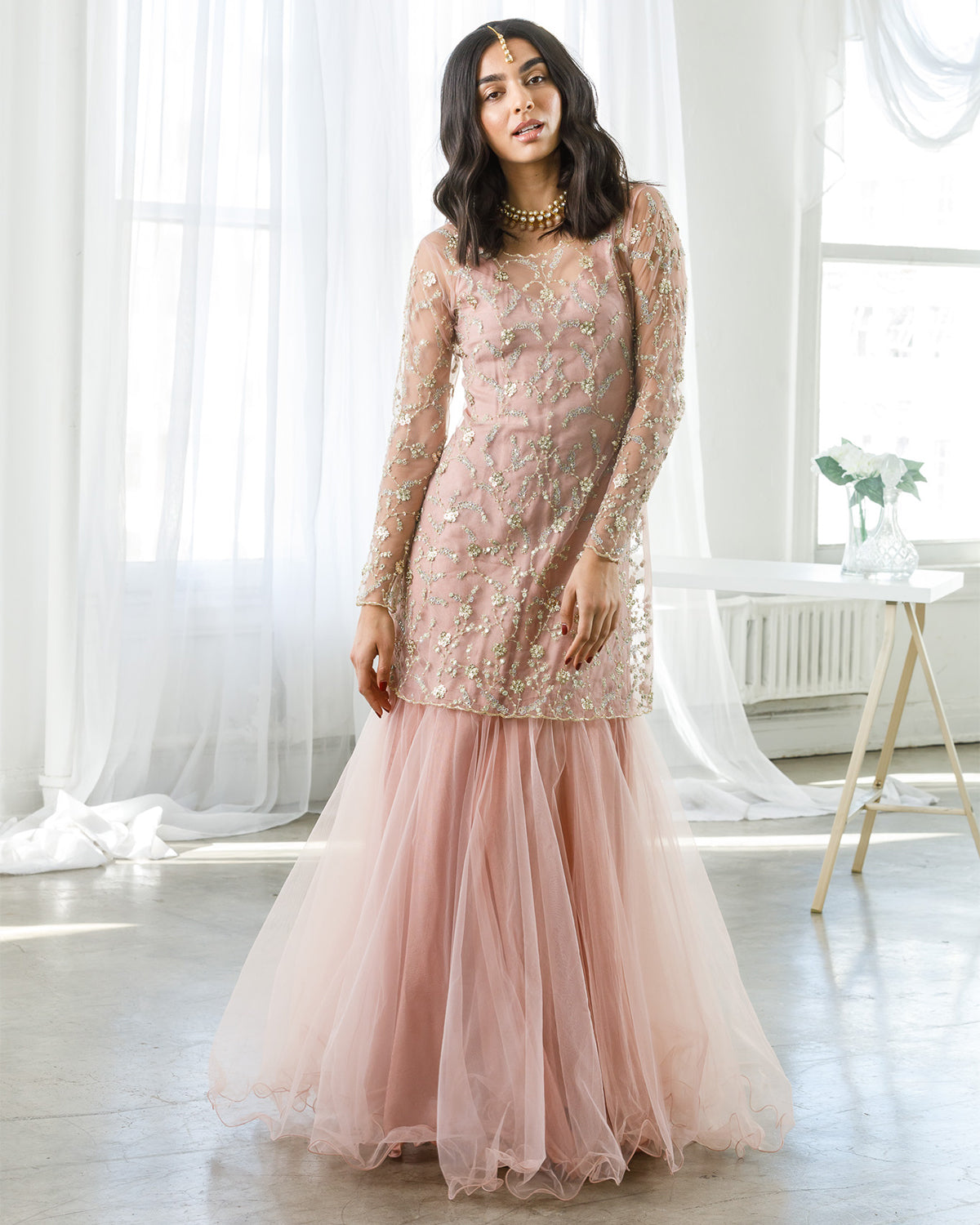 Pink tulle indian gown
