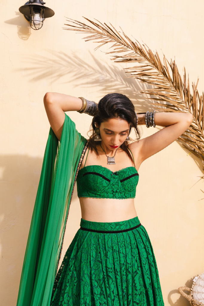 Emerald Lace Skirt and Bralette Set