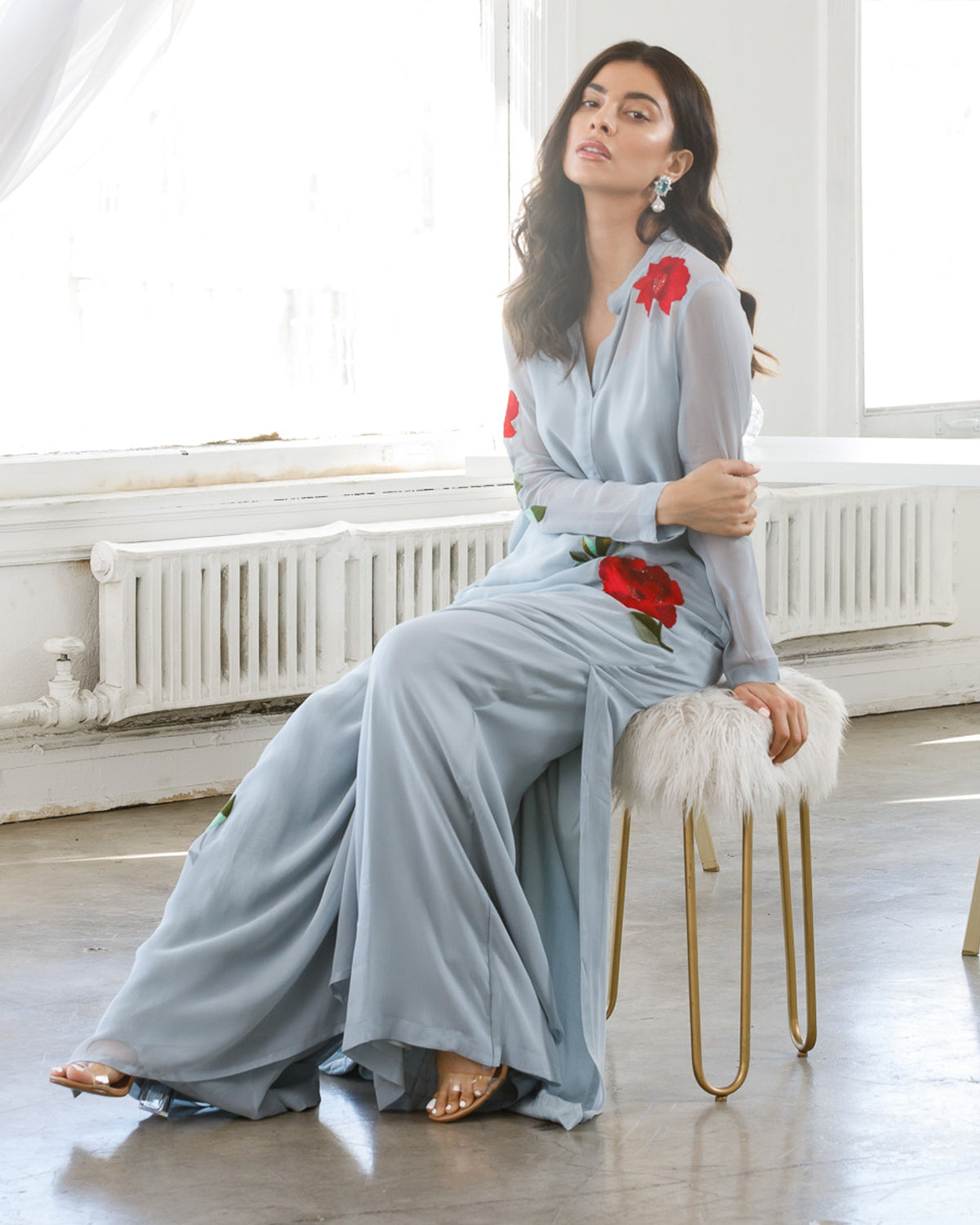 Dusty Blue Kaftan with palazzo pants
