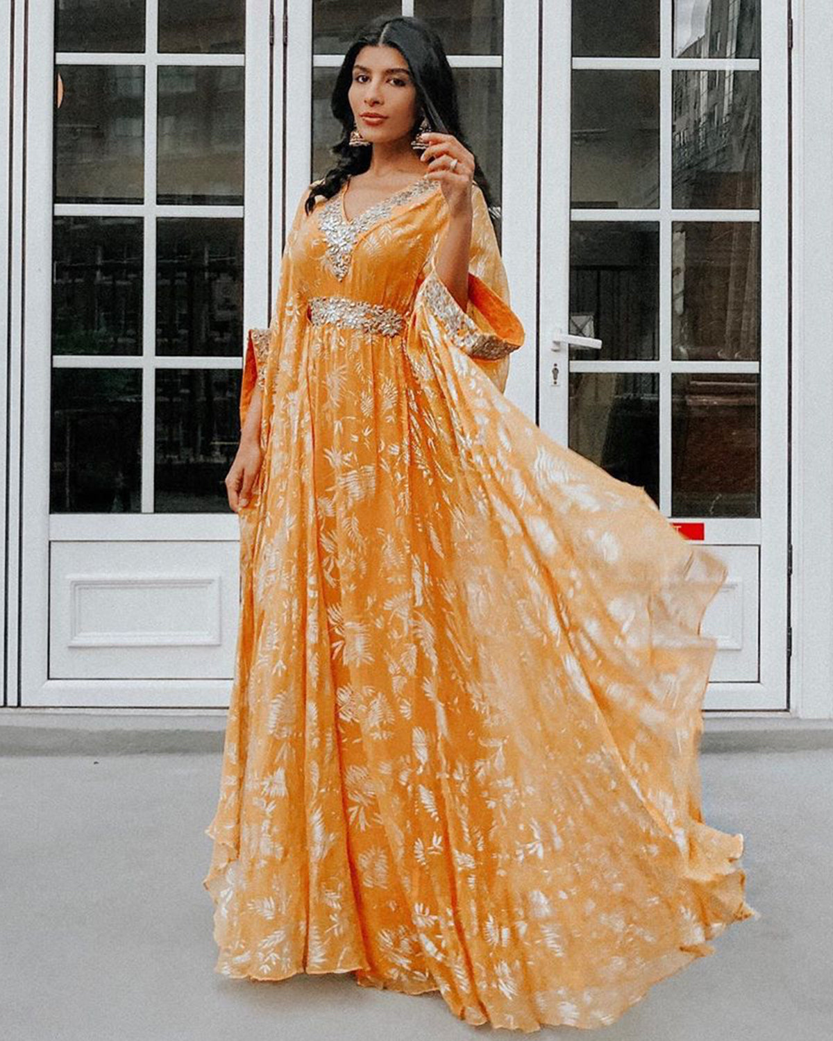 Orange and Gold Chiffon Kaftan