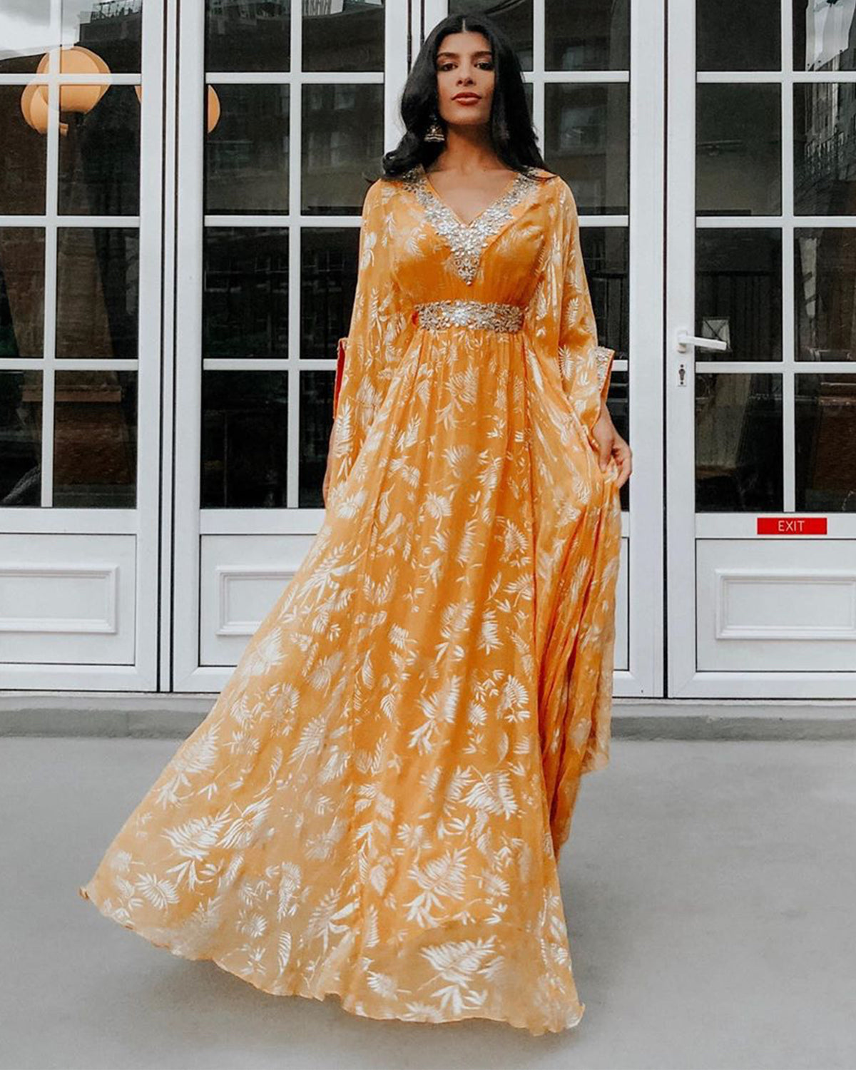 Bright Orange and Gold Chiffon Kaftan