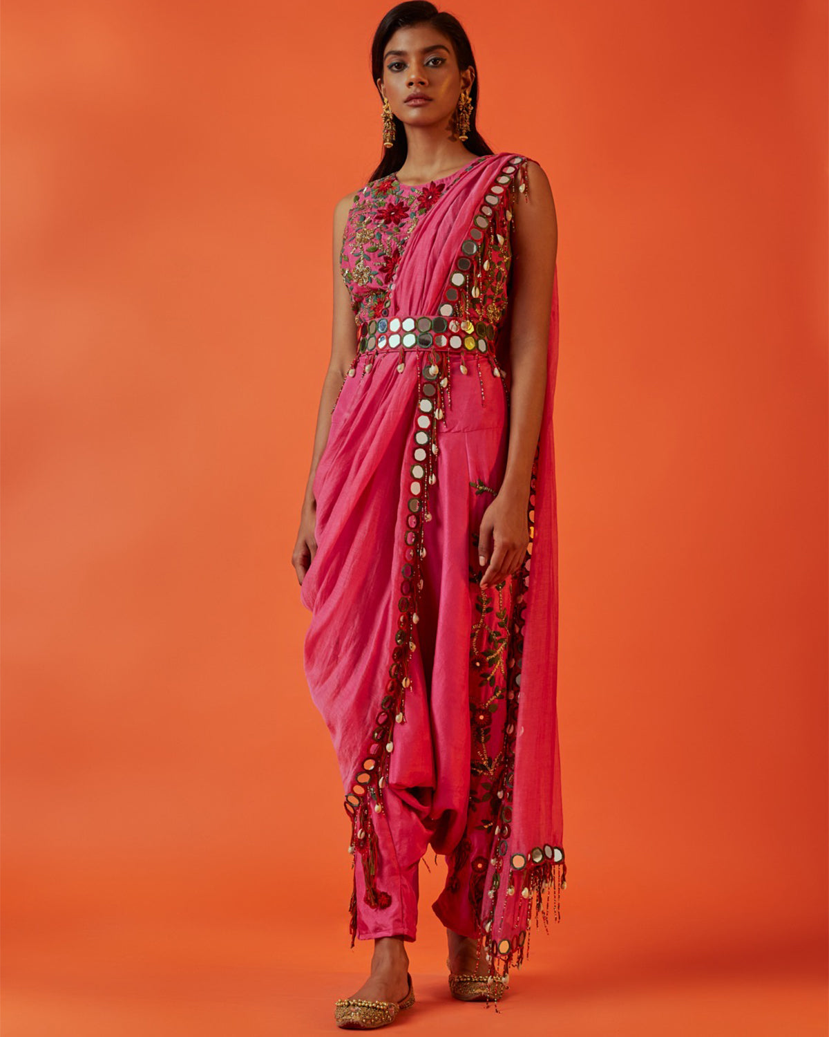 Fuchsia Embroidered Dhoti sari