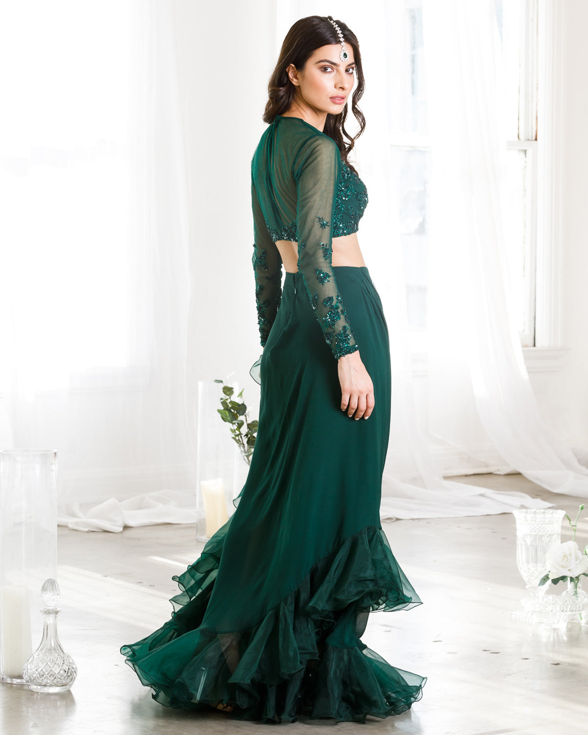 Emerald Green Ruffle Edged Sari