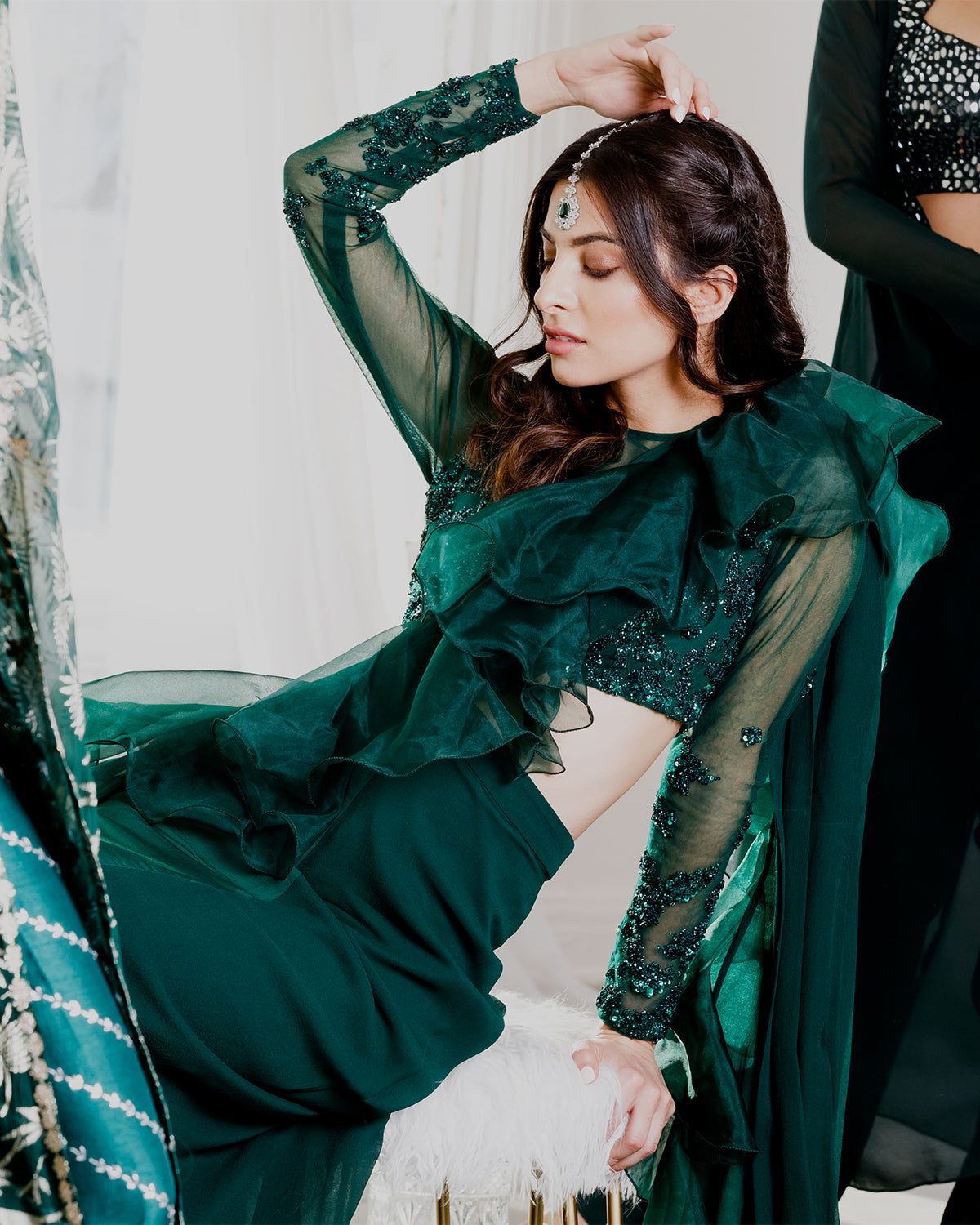 Emerald Green Ruffle Sari