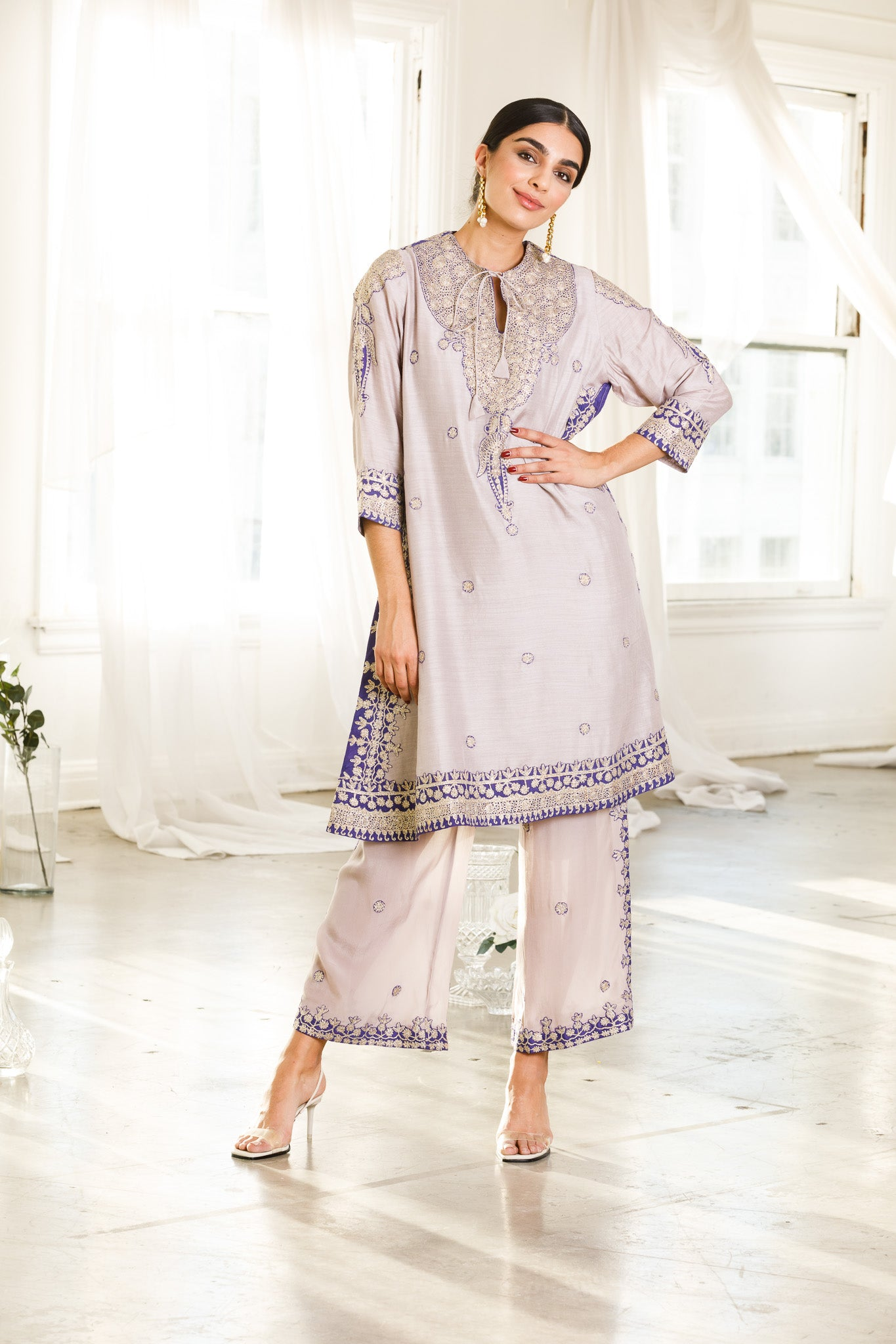 Gray Knee-Length Kurta and Straight Pants Outfit