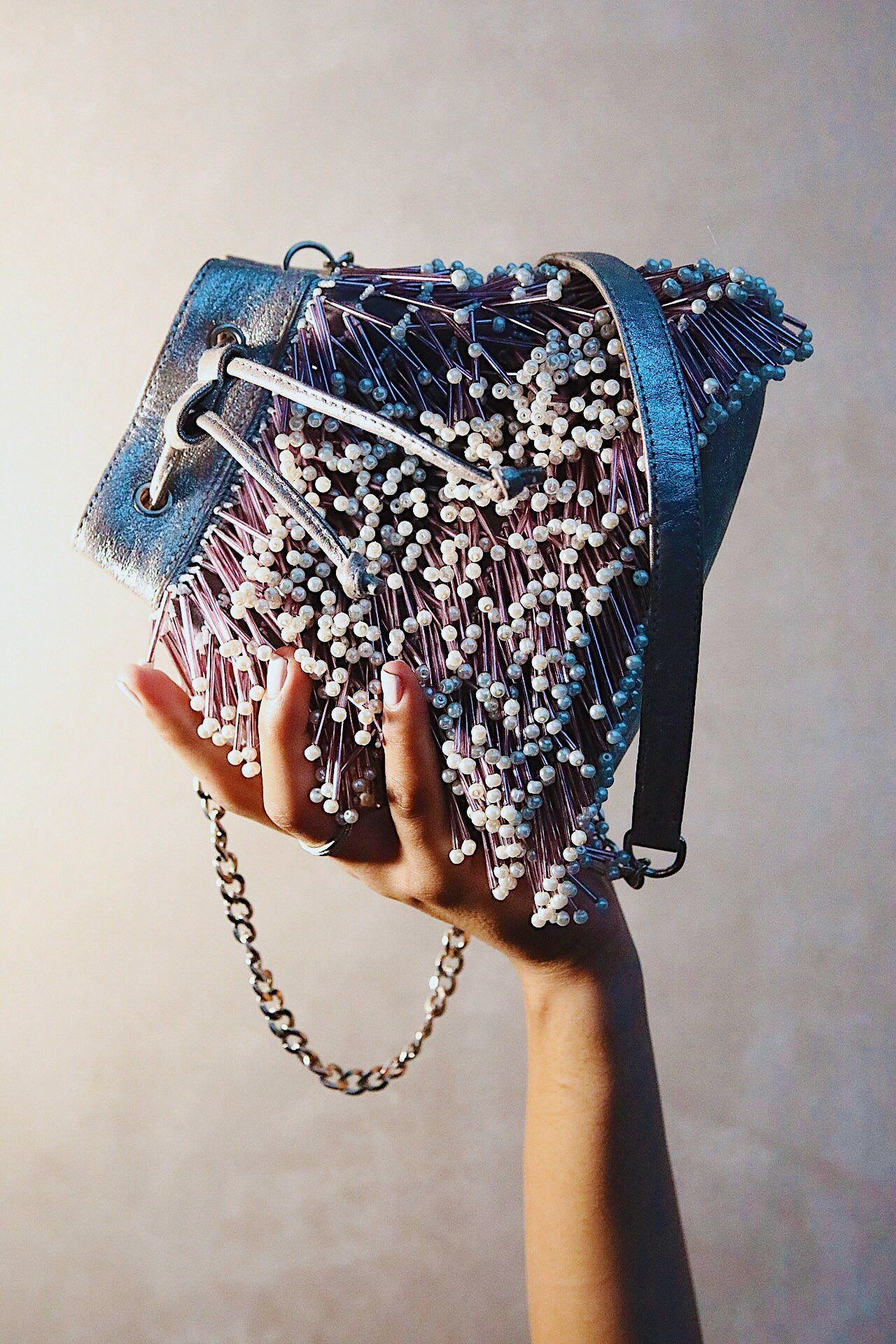 Glass Bead Lavendar Blue Bucket Bag | The Right Sided