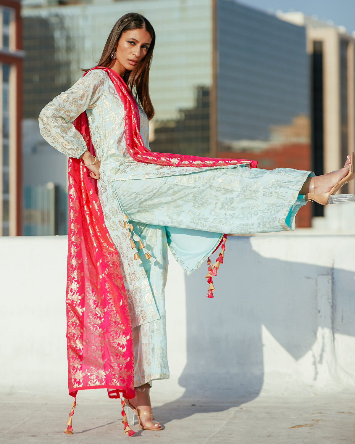 Ice Blue Kurta and Fuschia Pink Full Sleeves Outfit | House of Masaba
