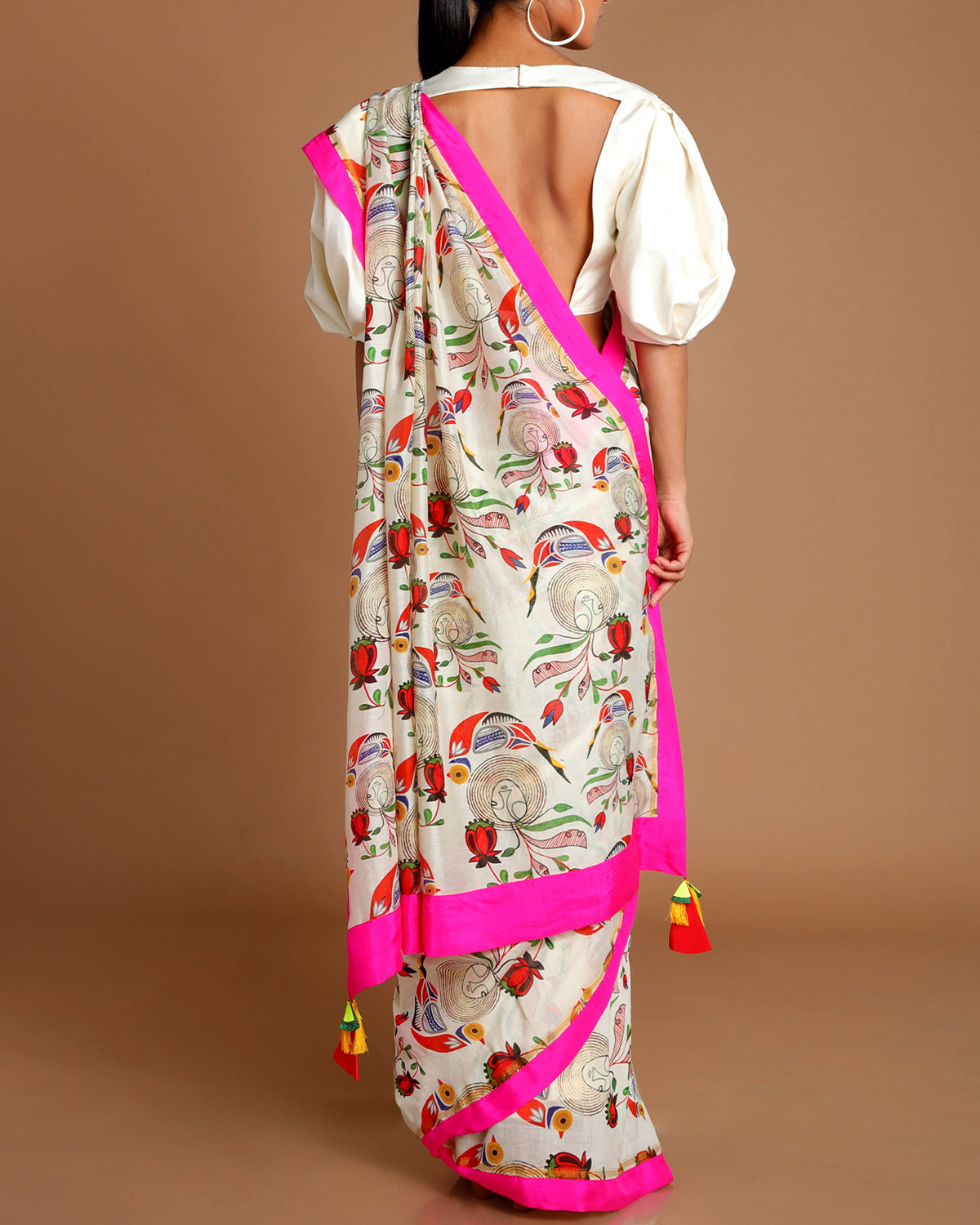 Ivory of Birds & Bees Sari