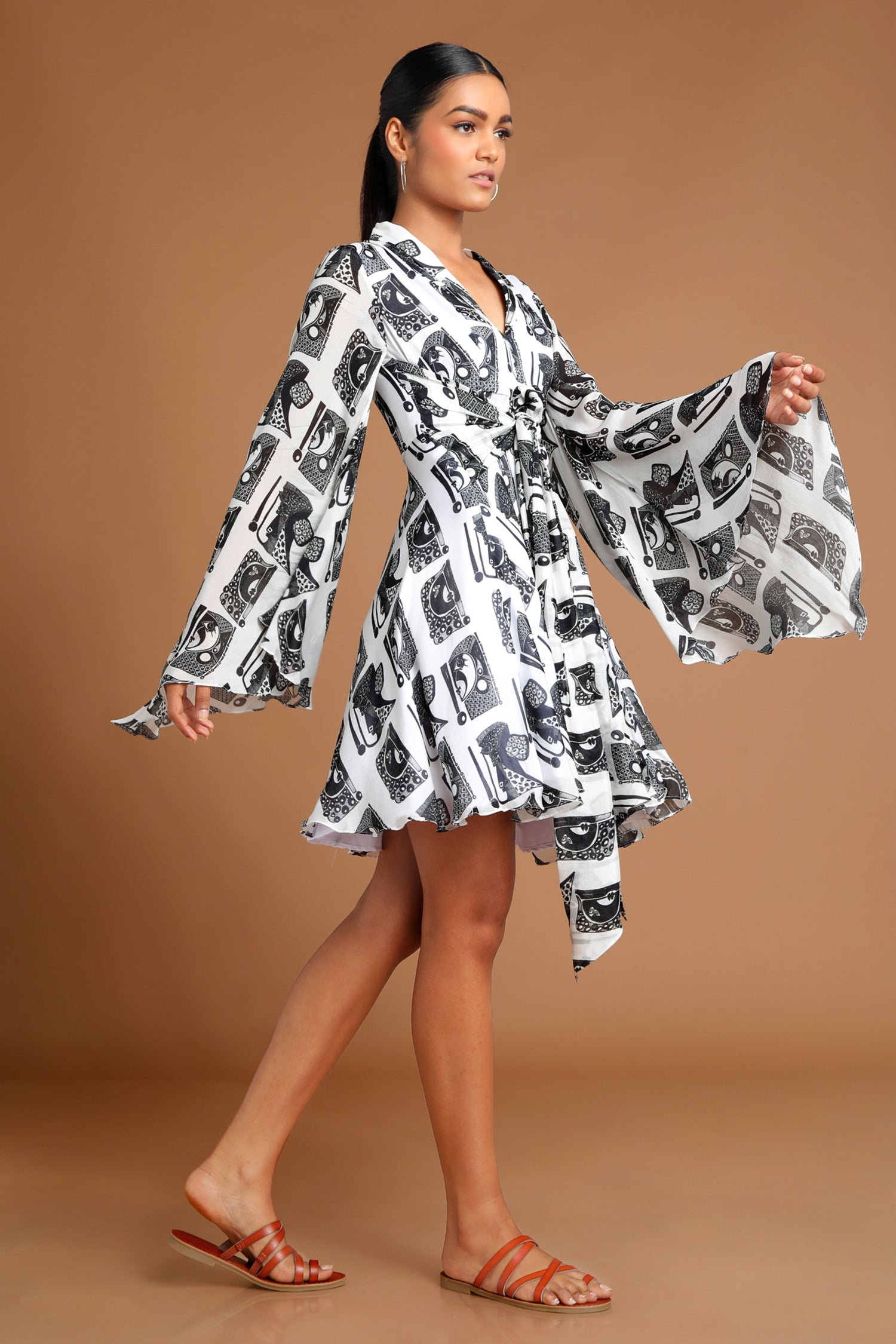 White Black Print Bell Sleeve Dress | KYNAH x House of Masaba