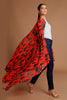 Red Printed Cardigan Shawl | KYNAH x Masaba