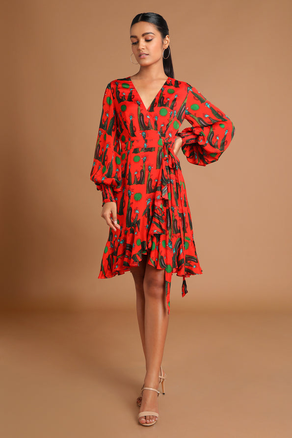 Pins & Needles Wrap Dress