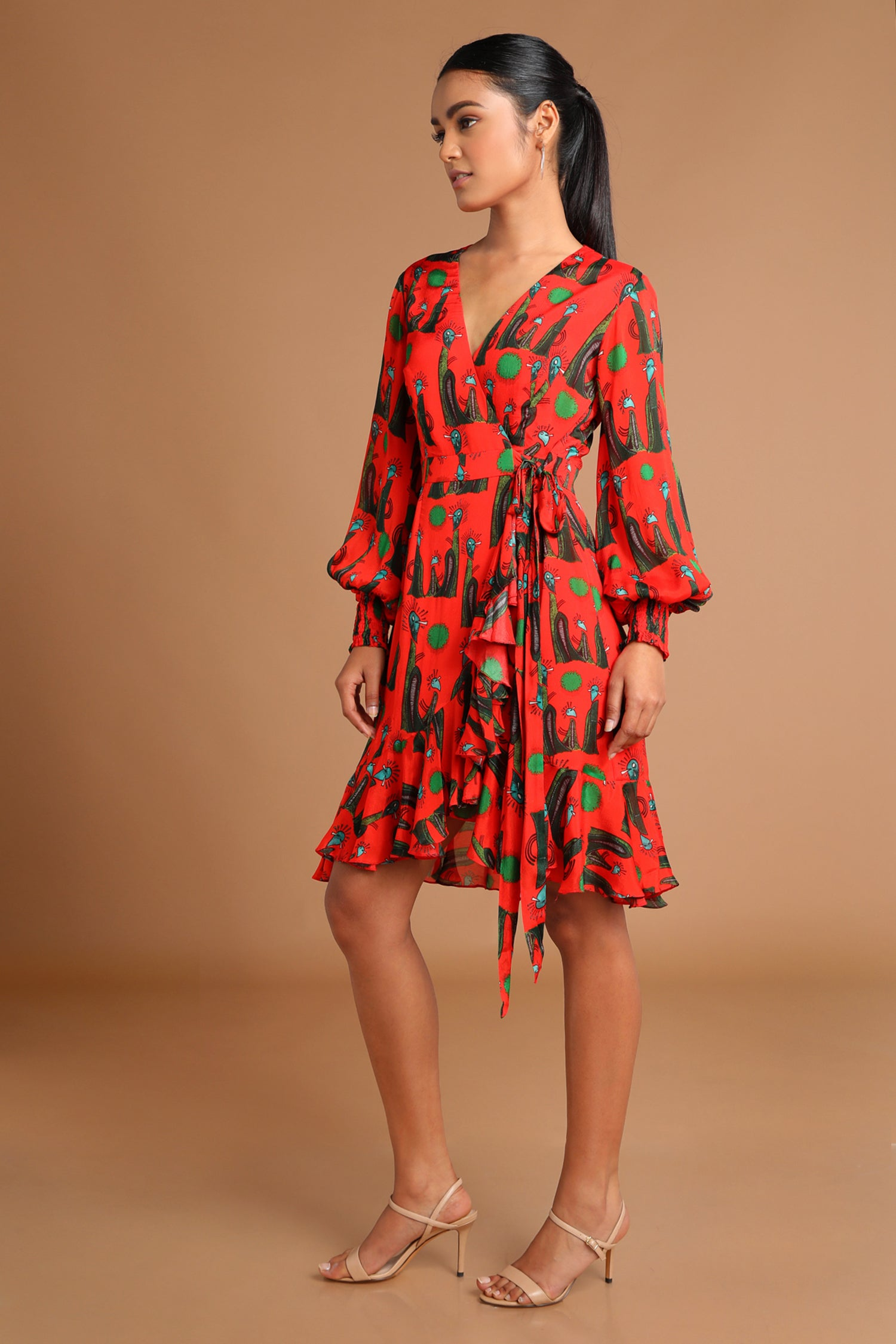 Red Printed Wrap Dress | KYNAH x Masaba