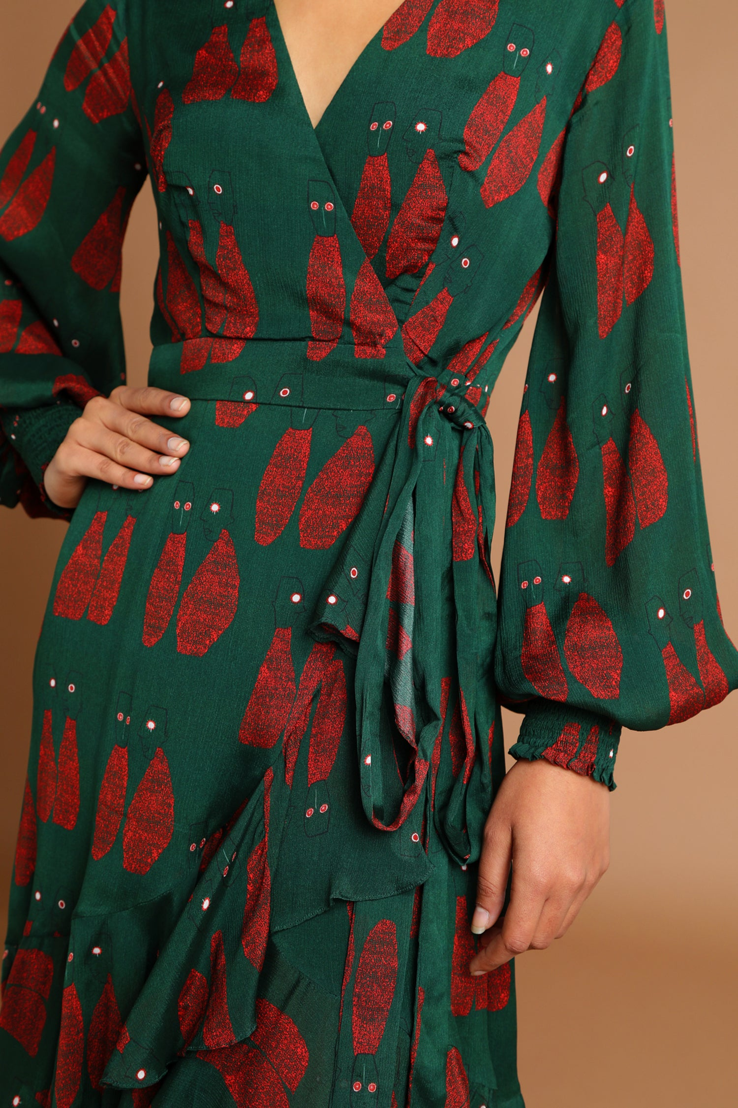 Green Puppet Wrap Dress