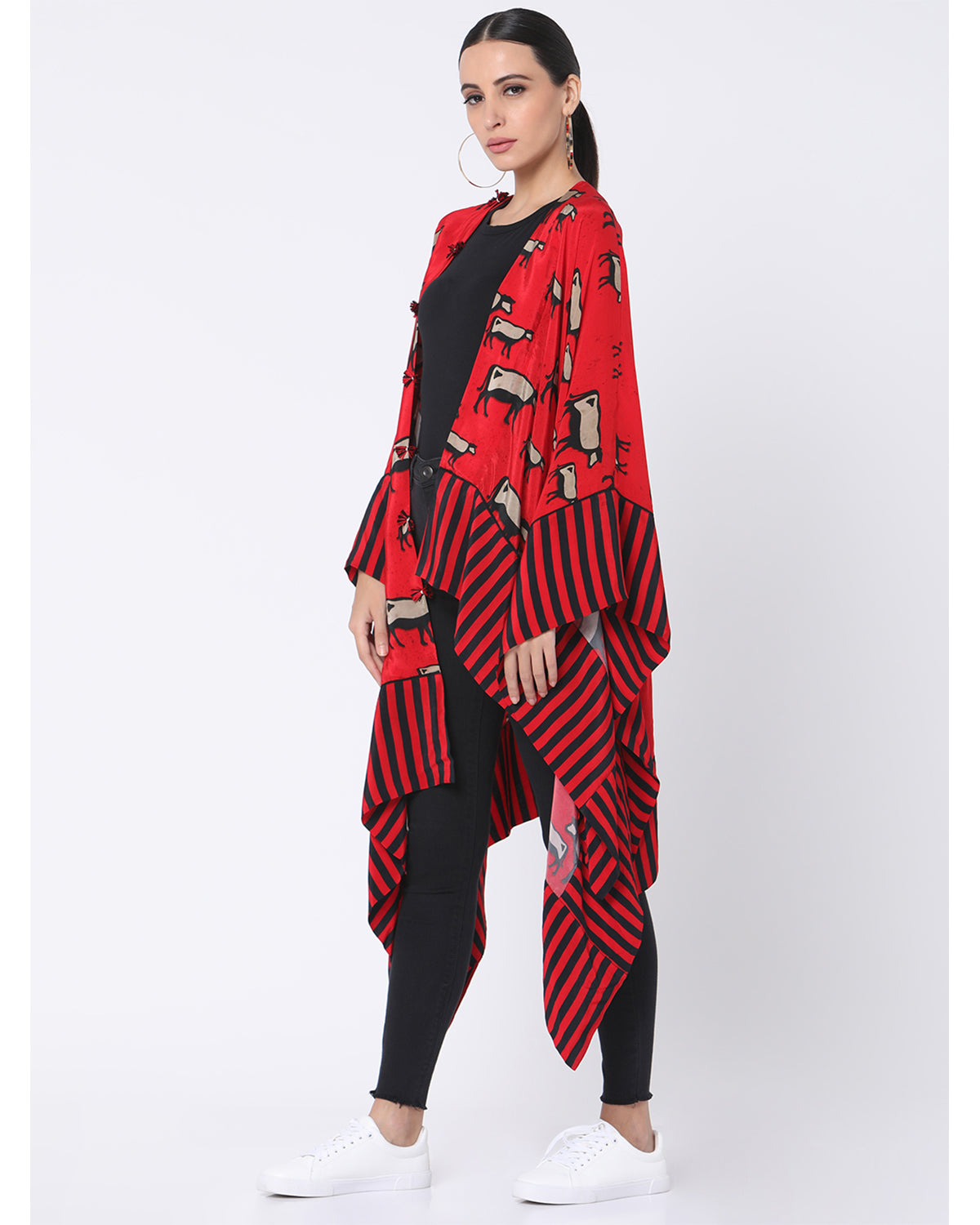 Red Blooming Cow Asymmetrical Short Jacket