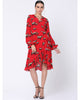 Red Cow Wrap Dress