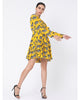 Yellow Blooming Cow Panelled Short Dress