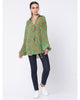 Mint Green Fan Flower Wrap Shirt