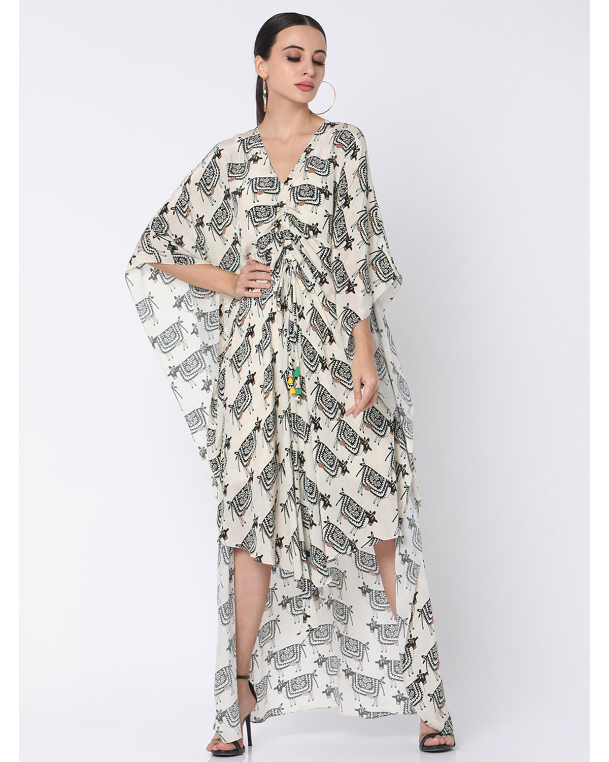 Ivory Blooming Cow Cinched Kaftan