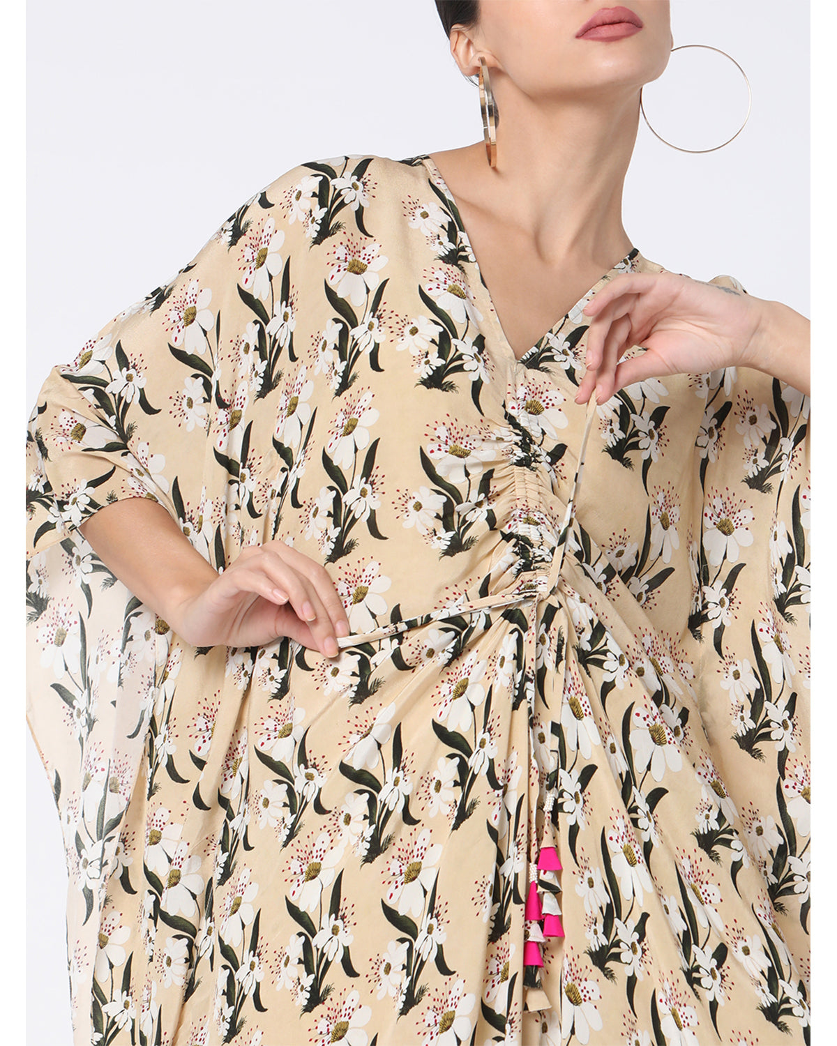 Ivory Pearl Blooming Flower with Pink Bud Cinched Kaftan