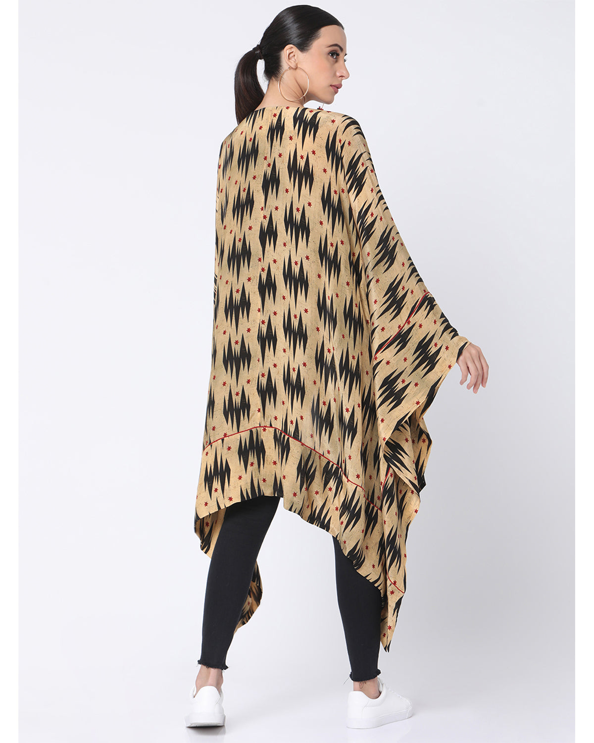 Beige Ikat Star Asymmetrical Short Jacket