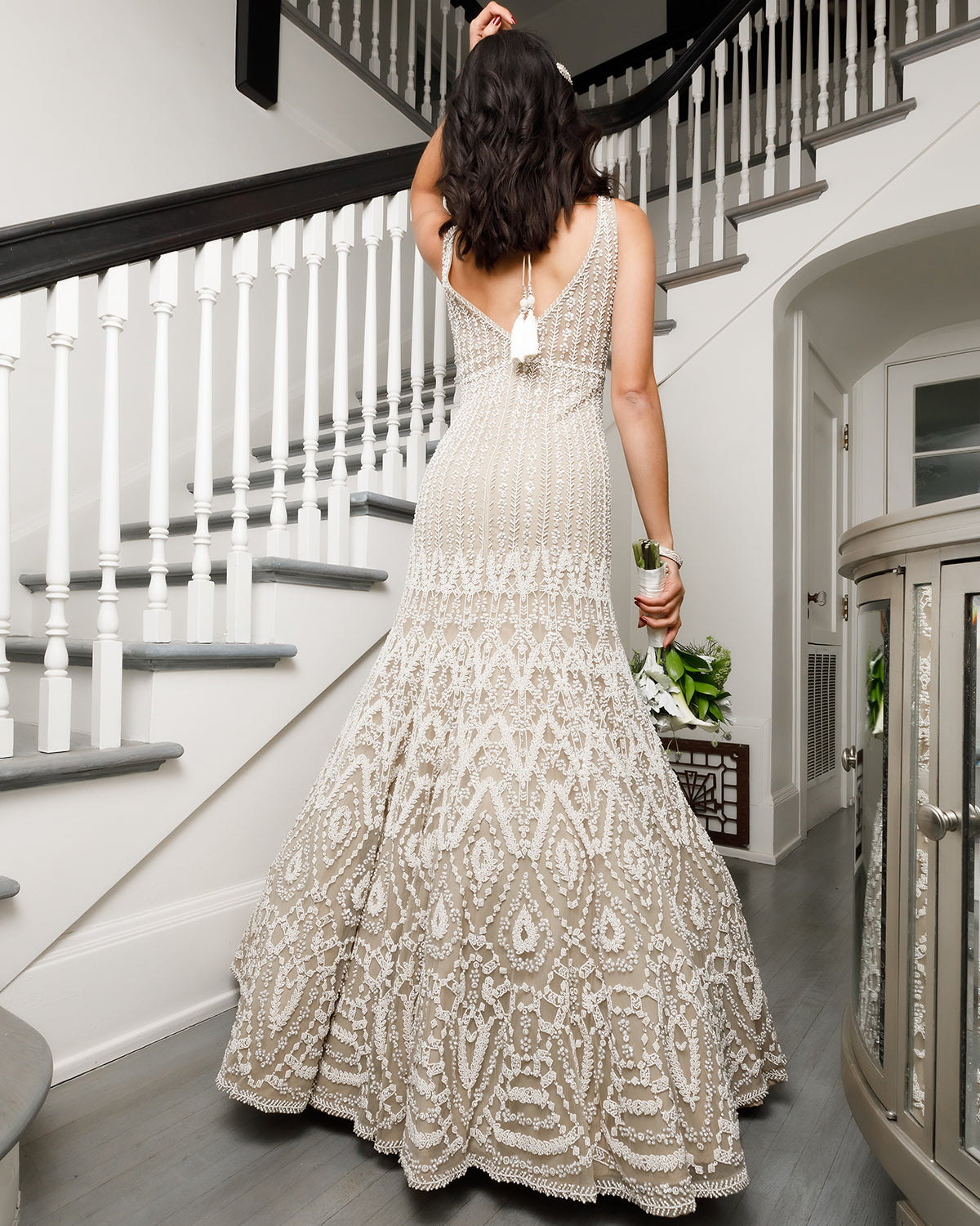 Beige and White Mermaid Bridal Gown