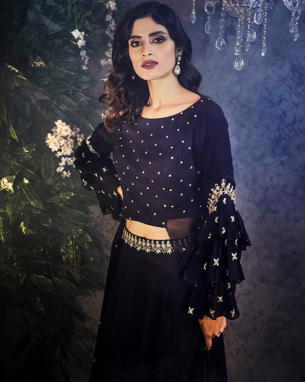 midnight blue lehenga with belle sleeves