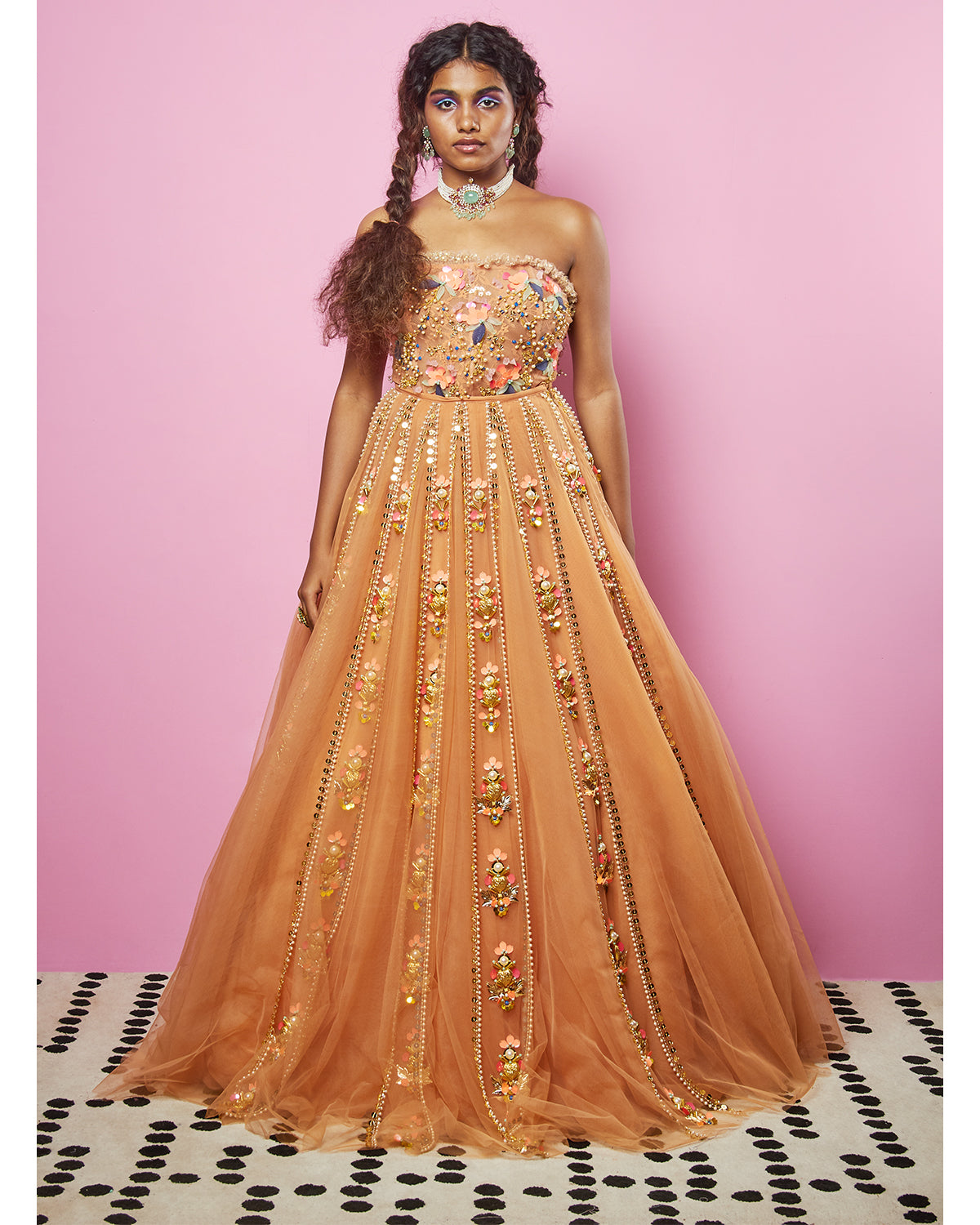 Biscuit Nude Tulle Lehenga | Papa Don't Preach