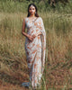 Mother of Pearl and Burnt Orange Print Sari Set