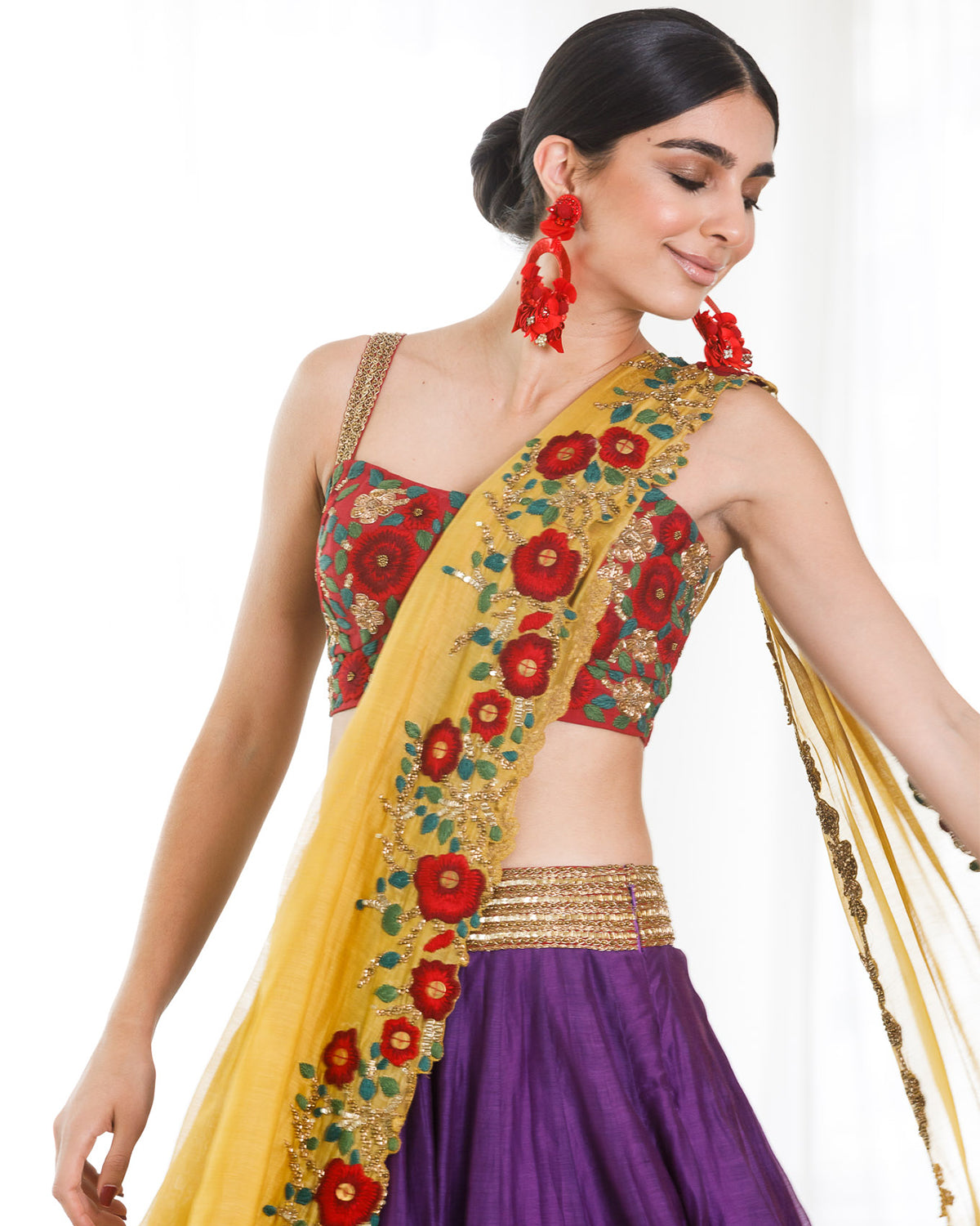 Mustard and Purple Embroidered Lehenga