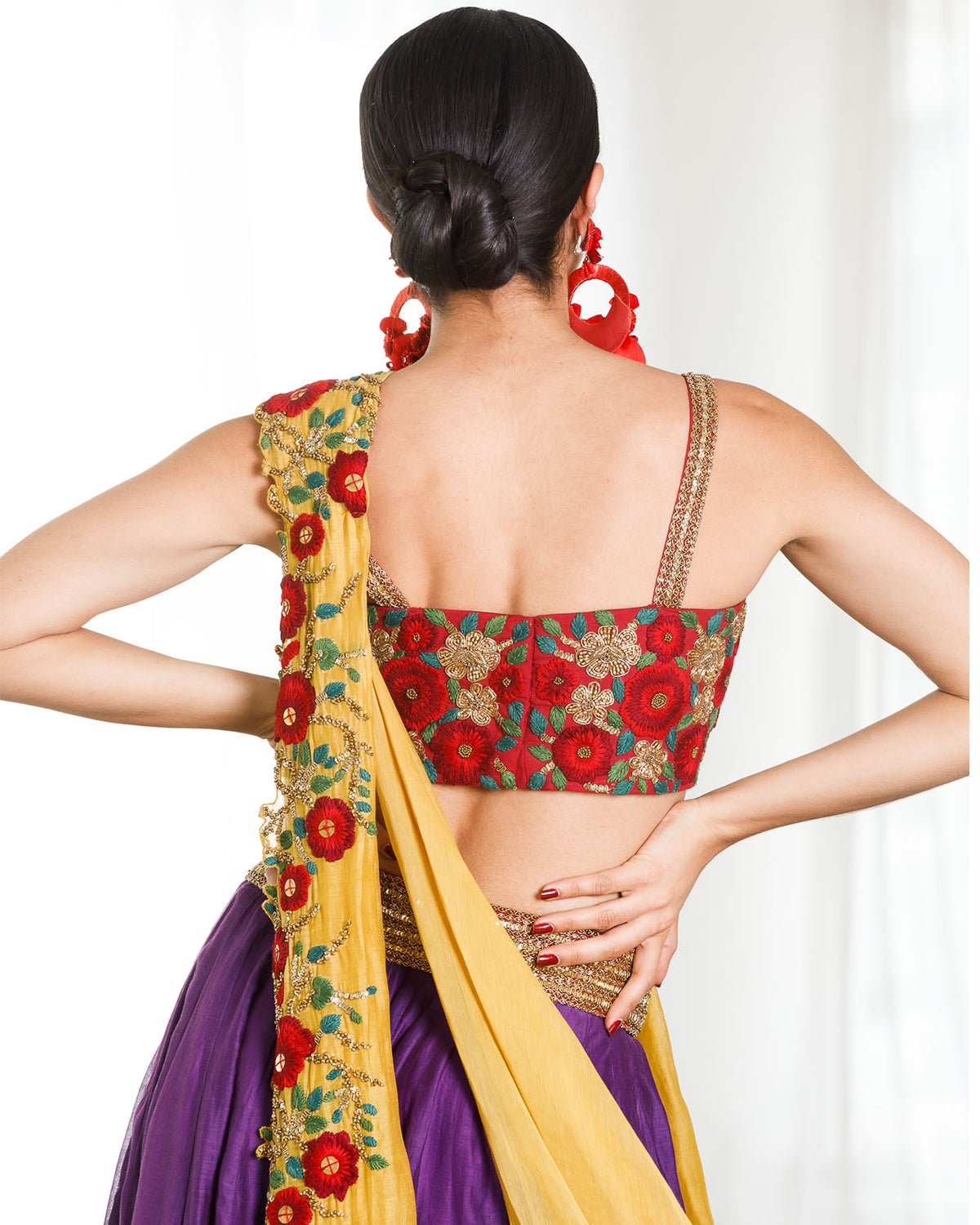 Mustard,Red, and Purple Midi Lehenga