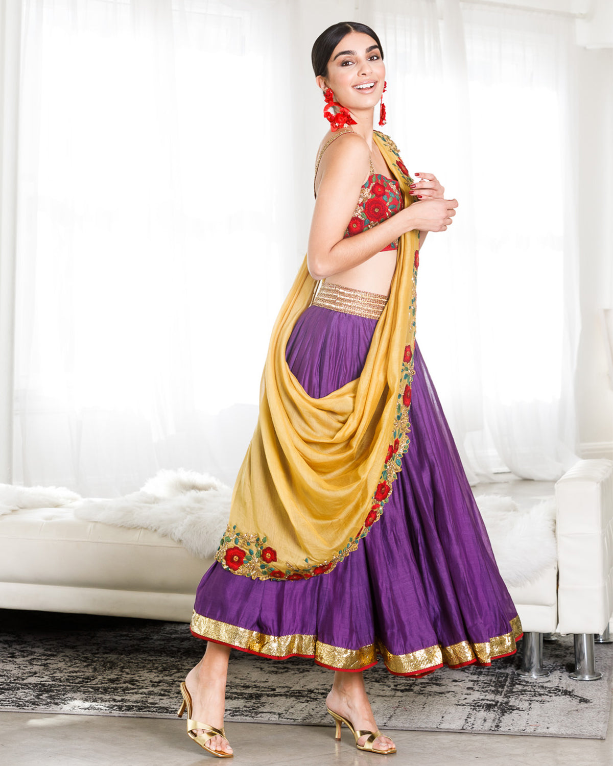 Yellow and Purple Midi Lehenga