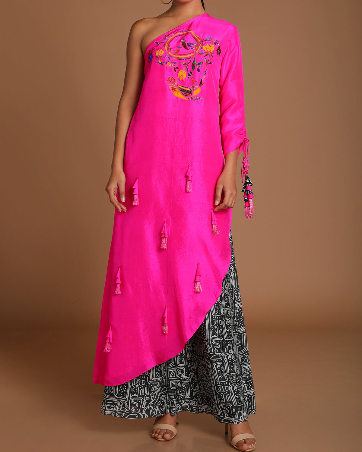 Pink One Shoulder with Black and White Pants | House of Masaba