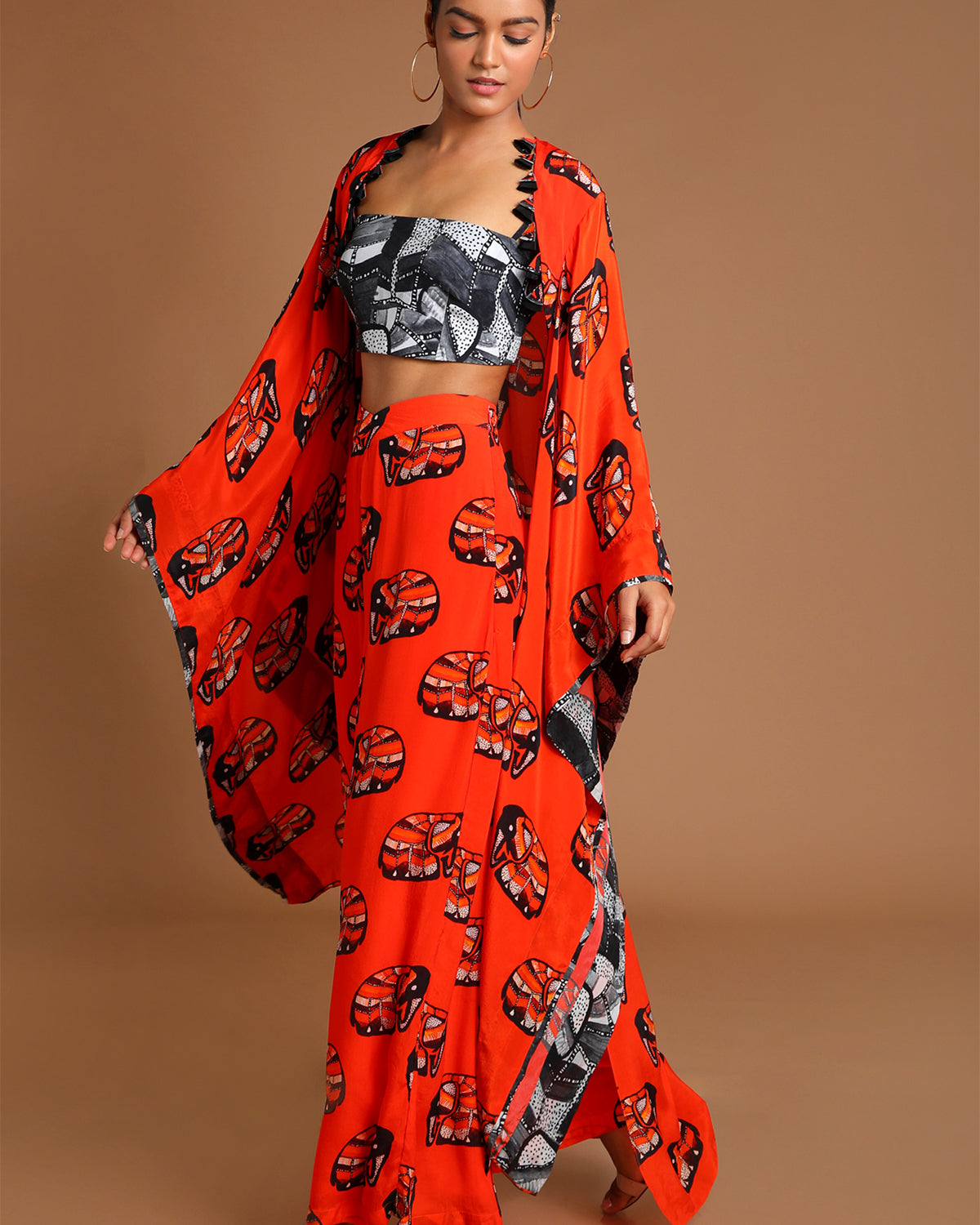 Orange Elephant Cape & Pants Set